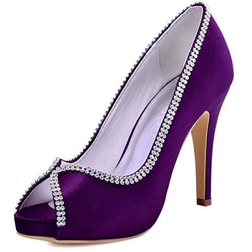 ElegantPark EP11083-IP Mujer Peep Toe Plataforma Tacón Alto Rhinestones Cadenas Zapatillas Satén Zapatos de Noche Morado EU 36