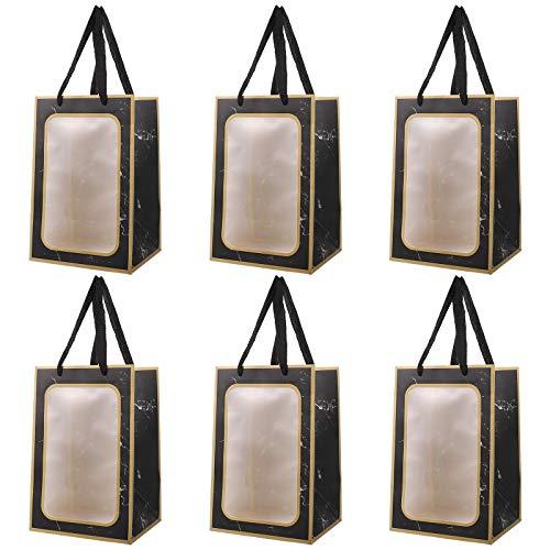 VALICLUD 6Pc tragbare Blumenstrauß Packtaschen Marmorierung Geschenk Handtaschen (Gold Edge)