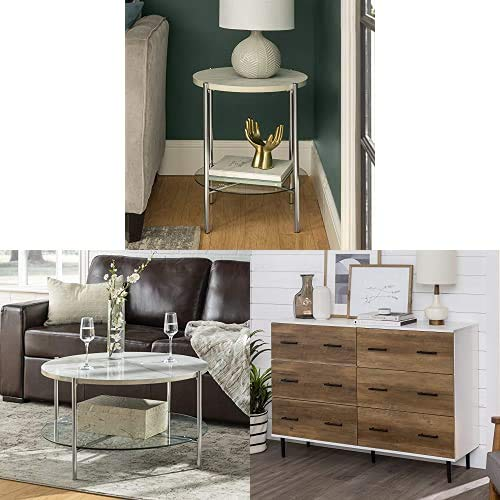 WE Furniture Modern Glam Round Side End Accent Table Living Room with Coffee Accent Table Living Room and Buffet Storage Drawer Organizer Closet Hallway