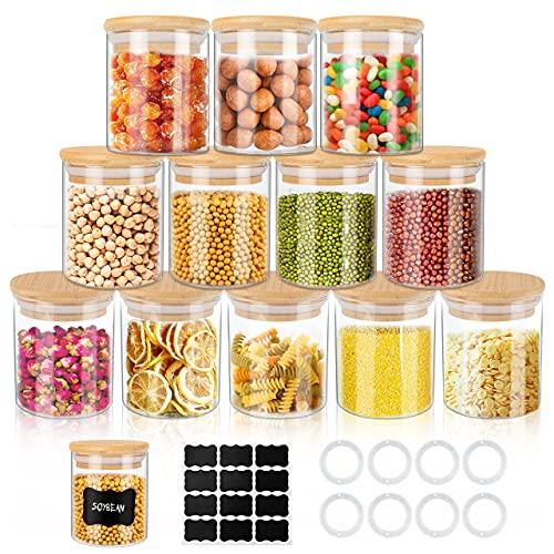 Gifort Vorratsdosen Glas 12er Set, Gewürzgläser 150 ml, Luftdichter Glasbehälter mit Deckel und Etikett, Kleine Gläser für Gewürze, Zucker, Tee Aufbewahrung Küche