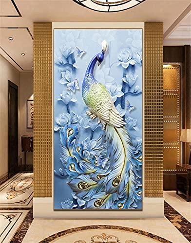 DIY 5D Kits Pintura de Diamante Adultos, Pavo real de magnolia 30x60cm/12x24in Bordado Diamond painting Completo kit, Pedrería de cristal Bordado Punto de Cruz Manualidades para decoración de Pared