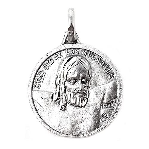 Santísimo Cristo de los Milagros con Virgen de Zamarrilla medalla plata Ley 925m maciza 20 mm.
