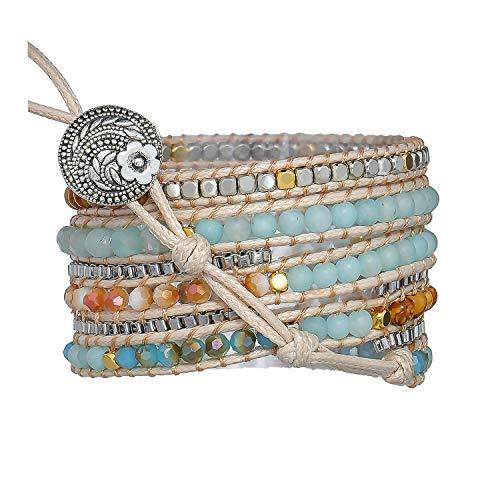 PLTGOOD Boho Handmade 5 Wrap Bead Bracelet for Women Girls Natural Creative Stone Crystal Stainless Chain Mixed Beaded Strand Bracelet Adjustable Jewelry