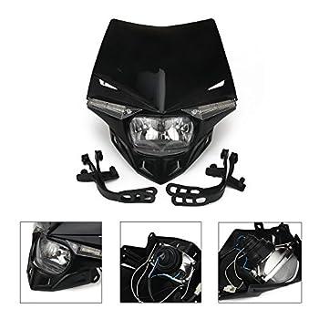 Universal Motorcycle Supermoto Headlight LED Dirt Bike Headlight Front Head Light For For 12V 35W Black