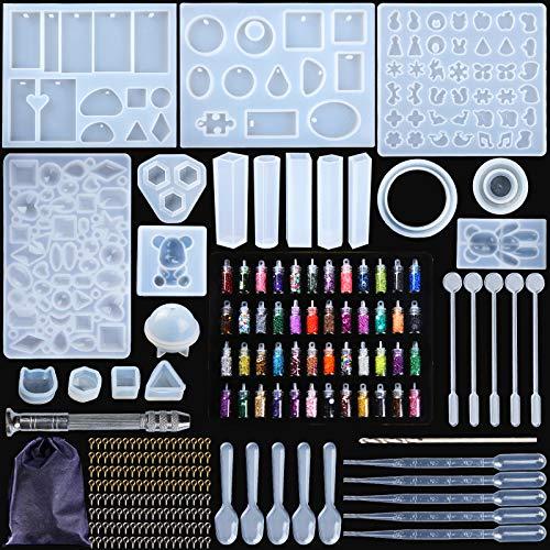 MOOING Kit de Moules et Outils de Coulée de Résine,Moule de Bricolage de Silicone,Silicone Moule pour Bijoux en Époxy Résine, pour la Fabrication de Bijoux en Cristal Pendentif Bracelet (284pcs)