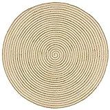 Festnight Alfombra Yute Redonda Alfombras Fibras Naturales Alfombra de Yute Tejida a Mano Estampado Espirales Blanco 150cm