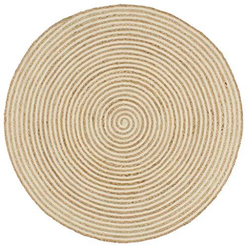 Festnight Tapis Jute tressé | Tapis Jute Rond | Tapis Jute Naturel et Motif de Spirale pour Salon | Tapis Fait à la Main en Jute 90 cm