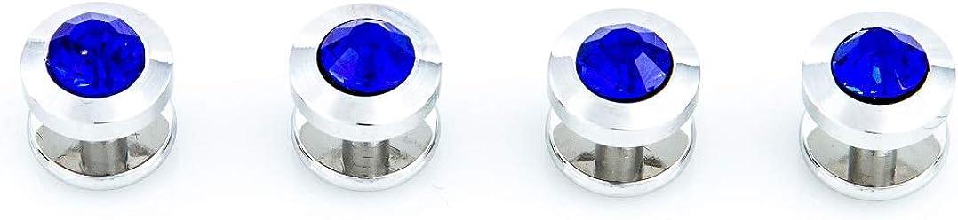 MRCUFF Blue Crystal Cufflinks and Studs Tuxedo Set in a Presentation Gift Box & Polishing Cloth