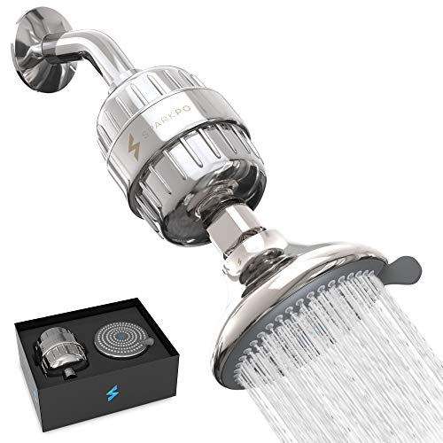 SparkPod Filtered Shower Head - High-Pressure Water Filter Showerhead for Hard Water and Chlorine - Quickly Improve The Condition of Your Hair and Skin - Adjustable & Easy-to-Install (2.5GPM)