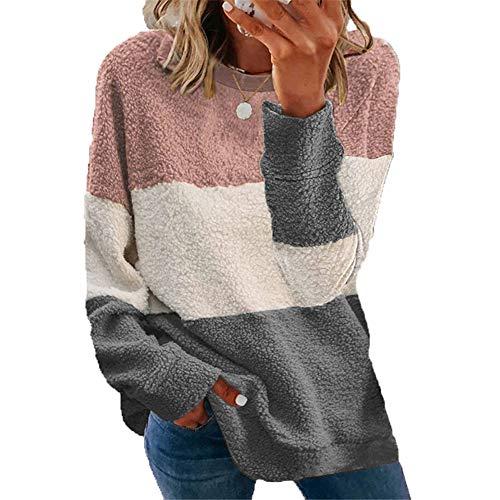 ZFQQ Jersey de Abrigo de Contraste con Costuras de Felpa para Mujer de otoño e Invierno