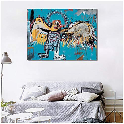sjkkad vallen Angel Van Jean Michel canvas schilderij druk slaapkamer wooncultuur moderne muurkunst schilderij poster salon foto's kunstwerk 60 x 80 cm geen lijst
