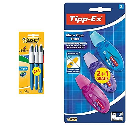 Bic 4 colores bolígrafos retráctiles, original, colores surtidos + Tipp-Ex Cinta Correctora de Bolígrafos, Óptimo para material escolar,Micro Tape Twist, 8m x 5mm, Con Cabezal Rotativo, Blíster de 3