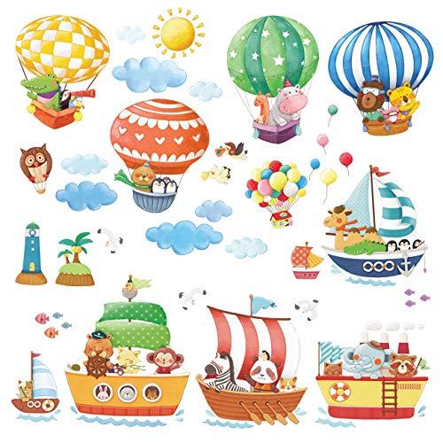 DECOWALL DA-1406B1506A Tren de Animales y Barcos Vinilo Pegatinas Decorativas Adhesiva Pared Dormitorio Saln Guardera Habitaci Infantiles Nios Bebs