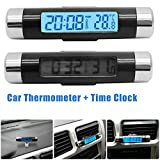MACHSWON Car Thermometer Clock 2 in 1 Clock Small and Portable LCD Monitor Automotive BacklightClip-on Digital