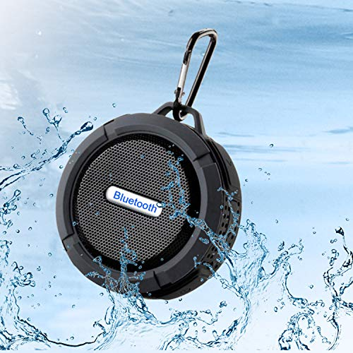 Outdoor Waterproof Bluetooth Shower Speaker, Portable Mini Shower Travel Speaker, with subwoofer, Enhanced bass, Built-in Microphone, Suitable for Sports, Swimming Pool, Beach, Hiking, Camping-Black