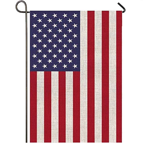 Mogarden American Garden Flag, Double Sided, 12.5 x 18 Inch, Premium Burlap Small Patriotic 4th of July USA Yard Flag for All Seasons for Outside