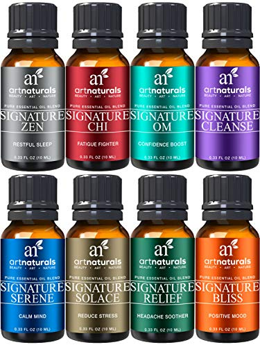 ArtNaturals Signature Blend Essential Oils Set for Diffuser (8 x 10ml) 100% Pure Natural Oil -Therapeutic Grade - Aromatherapy Gift Set Kit for Stress Anxiety, Sleep Calming & Relaxing -For All Skin