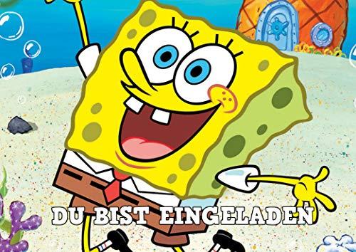 SL24 Spongebob Einladungskarten 12er Set inkl. 12 Umschläge E1