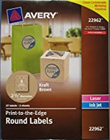 """Avery Print to the edge 21/2 """" Diameter Kraft Brown Round labels -27 pc pack by Avery [並行輸入品]"""