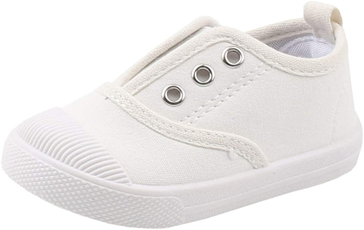 DADAWEN Boy's Girl's Candy Color Canvas Slip-On Lightweight Sneakers Cute Casual Running Shoes