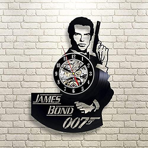 James Bond Secret Agent - Reloj de pared de vinilo con idea de regalo moderna hecha a mano, regalo vintage, ideas de regalo de amistad, regalo de cumpleaños para adultos, jóvenes, hombres y niños
