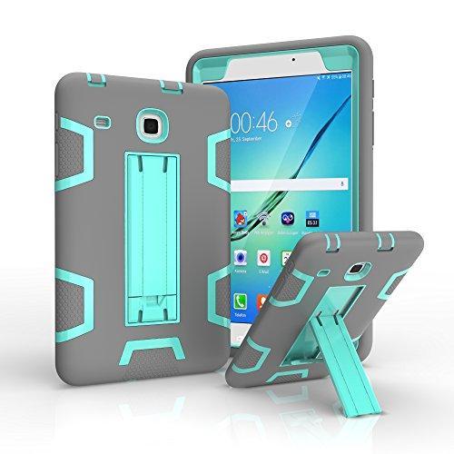 Samsung Galaxy Tab E 8.0, [el mejor regalo para niños] resistente armadura de cuerpo completo funda protectora para Galaxy Tab E SM-T377 4G LTE 8 pulgadas (T377-MCM gris+menta)