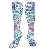 Calcetines de pollo, diseño de medallón con estampado floral y hojas bohemio, estampado hippie, calcetines para mujeres y hombres, lo mejor para correr, atletismo, senderismo, viajes, vuelo