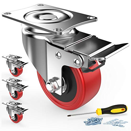 Lenkrollen 4 Stück Transportrollen mit Sicherheitsverriegelung 50mm Räder für Möbel geräuschlose Schwerlast Räder mit Polyurethan-Gummibeschichtung 360 Grad Drehbar 400Kg Gesamtkapazität (Rot)