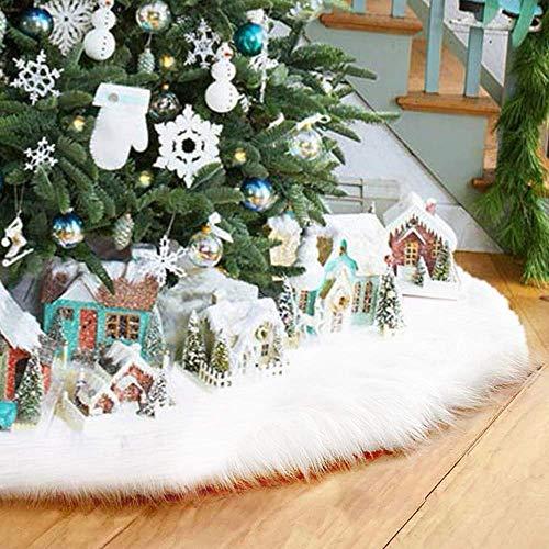 AMAES couvre-Pied di Albero Gonna Bianca Pura di Albero di Pelliccia Sintetica Le Decorazioni di Natale