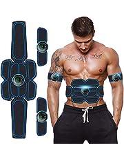 Moonssy EMS-trainingsapparaat, elektrische buikspiertrainer, spierstimulatie met 6 modi, 9 intensiteiten, USB-oplaadbare spiertrainer, elektrisch voor buik, arm, benen