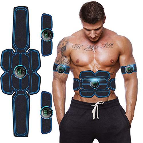 Moonssy Elettrostimolatore per Addominali,Elettrostimolatore Muscolare, EMS Suscolo Addominale,Ricarica USB ABS Trainer/Toner per Addome/Braccio/Vita/Gambe