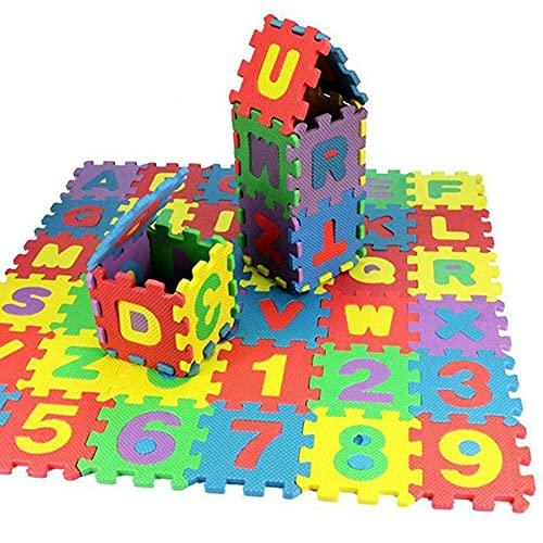 Fontsime 耐久性のあるソフトエヴァフォームベビーキッズプレイマットアルファベット番号パズルおもちゃギフトCa