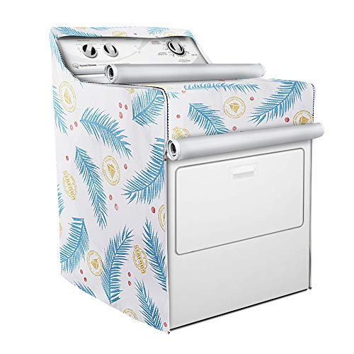 Washer/Dryer Cover,Fit for Outdoor Top Load and Front Load Machine,Zipper Design for Easy Use,Waterproof Dustproof Moderately Sunscreen(W29D28H40in,Blue Plume)