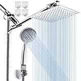 8'' High Pressure Rainfall Shower Head / Handheld Shower Combo with 11'' Extension Arm, Height/Angle Adjustable, Stainless Steel Bath Shower Head with Holder, 1.5M Hose, Chrome, 4 Hooks