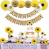 Sunflower Birthday Party Decorations Supplies Kit by Homond, Sunflower Happy Birthday Banner, Yellow Sunflowers Cupcake Toppers, Silk Sunflower Heads,Tissue Paper Fans, Pom Poms