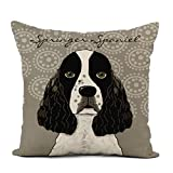 Topyee Throw Pillow Cover 18x18 Inch Puppies Customize English Springer Spaniel Dog on Pets Lover Home Decor Pillowcases Square Pillow Cases Cushion Covers for Sofa Couch Bed