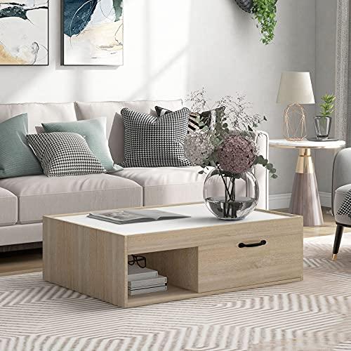 beistelltisch Wohnzimmertisch weiß Rechteck Couchtisch Sofatisch Metallgestell Holz Stabil Vintage Kaffeetisch,Beistelltisch für Wohnzimmer, Stabiles Eisengestell -98 x 75 x 29.5cm(BxTxH)