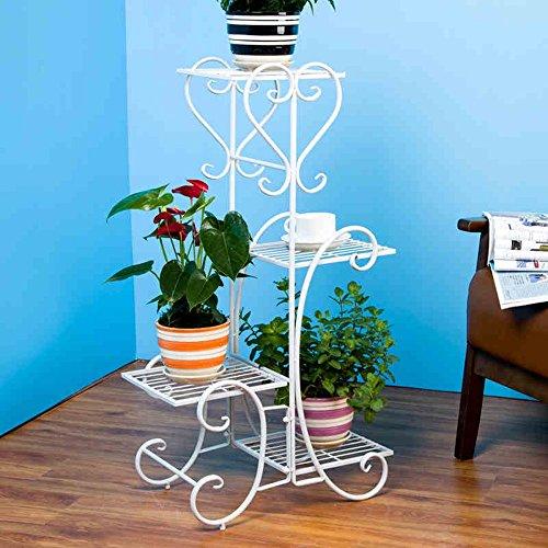 XIAOLIN- L55CM * W25CM * 85cm de style européen rétro grande de quatre étages en forme de coeur fleur Rack fer créatif multi-étage Flower Rack -Cadre de finition de fleurs (Couleur : Blanc)