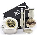 Juego de afeitado para hombre con cepillo de tejón plateado y maquinilla de afeitar de doble canto, soporte de afeitar, bandeja...