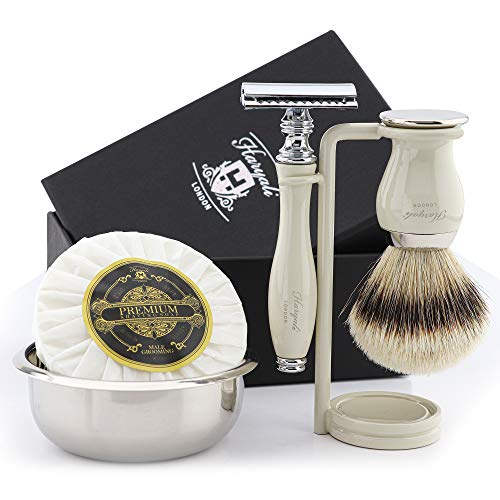 Set da barba da uomo con spazzola a tasso argentata e rasoio a doppio angolo, supporto per rasatura, ciotola in acciaio inox e sapone Haryali London Premium