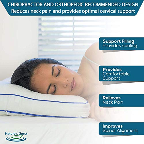 Nature's Guest Adjustable Cervical Orthopedic Pillow for Neck Pain, Contour Pillow for Sleeping, Ergonomic Cervical Support Pillow and Side Sleeper Pillow, No Memory Foam Pillow Odor - Standard Medium