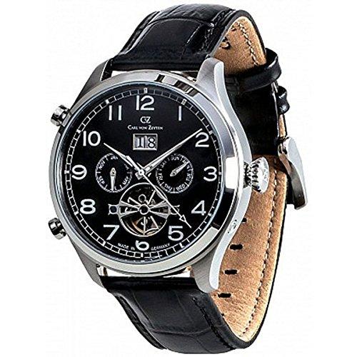 Carl von Zeyten Herren Analog Automatik Uhr mit Leder Armband CVZ0003BK