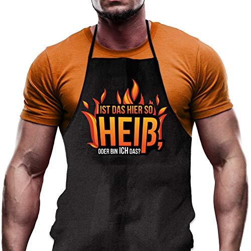 Shirtoo Kochschürze Ist das Hier so heiß oder Bin ICH das? - Lustiges Geschenk für Hobbyköche zum Geburtstag oder zu Weihnachten