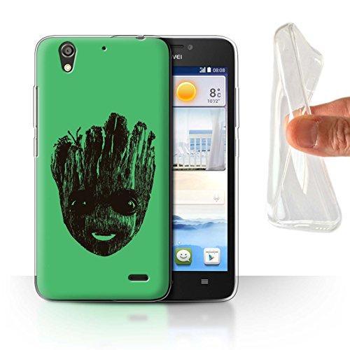 Hülle Für Huawei Ascend G630 Comic Wächter Inspiriert Nettes Baby Groot Gesicht Design Transparent Dünn Flexibel Silikon Gel/TPU Schutz Handyhülle Case