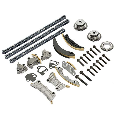 Timing Chain Kit with Tensioner Guide Rail Sprocket | for Buick Enclave Lacrosse Cadillac CTS SRX Chevy Equinox Malibu Traverse GMC Acadia Pontiac Saturn & More | Replaces# 9-0753S