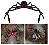 AISENO Giant Spider 4.2FT/125cm with LED Eyes Spooky Sound Halloween Decorations Outdoor Foldable Spider