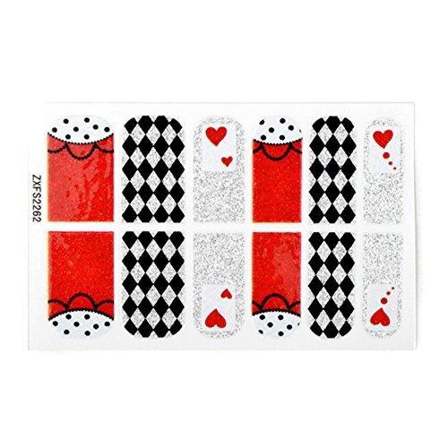 [Set of 2] 12PCS Glitter Artificial Nail Sticker polonais, Checker