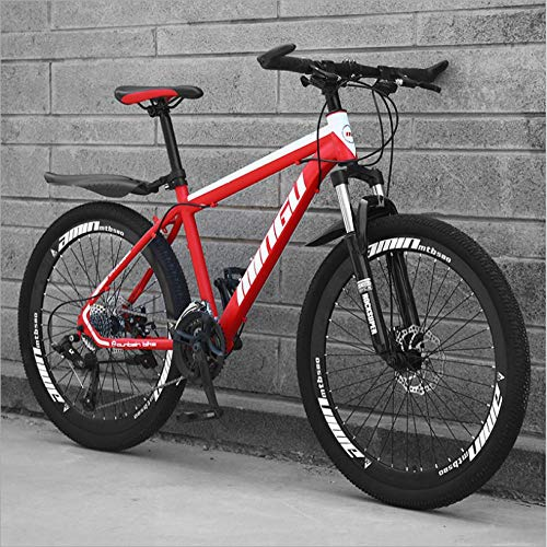 DGAGD 26 inch Mountain Bike Variable Speed Off-Road Shock-Absorbing Bicycle Light Road Racing 40 Cutter Wheels-red_21 Speed