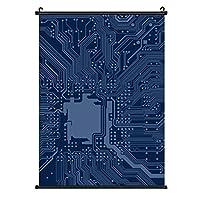 INOV 青いギーク マザーボード回路パタ ポスターハンガー 50×70 cm A2サイズ対応 ポスターフレーム 大判 フレームレス 額縁 壁掛け