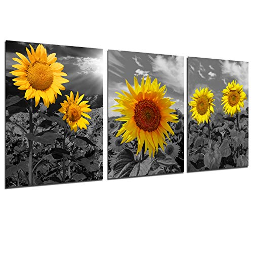Sunflower Wall Decor Canvas Posters - Yellow Kitchen Wall Art Flower Picture Country Paintings Black and White Landscape Prints Modern Bedroom Living Room Decorations Unframed Giclee Artwork 12x16inch
